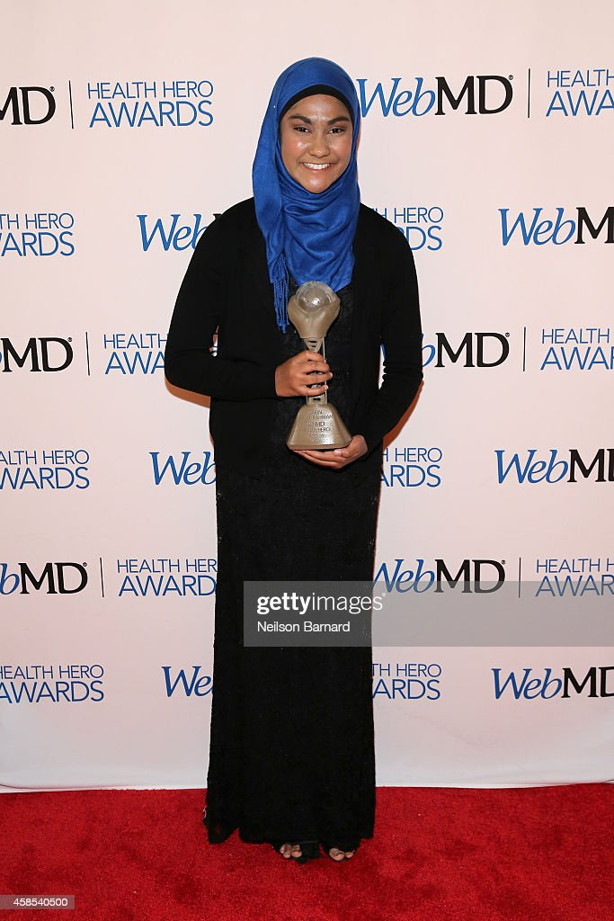 Honoree Zarin Idnat Rahman poses with an award backstage at the 2014 Health Hero Awards hosted by WebMD at Times Center on November 6, 2014 in New York City.