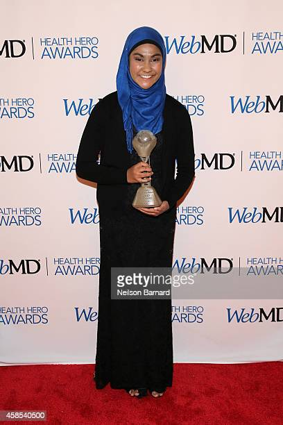 Honoree Zarin Idnat Rahman poses with an award backstage at the 2014 Health Hero Awards hosted by WebMD at Times Center on November 6 2014 in New...