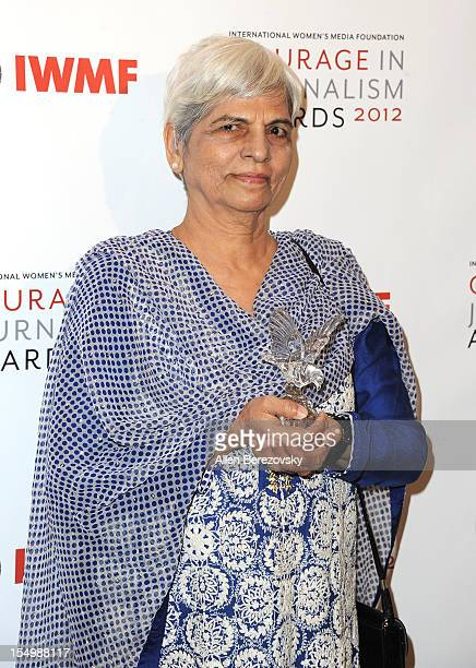 Honoree Zubeida Mustafa arrives at the 2012 Courage in Journalism Awards hosted by the International Women's Media Foundation held at the Beverly...