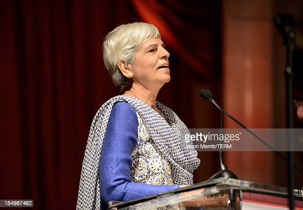 Honoree Zubeida Mustafa speaks onstage at the 2012 Courage in Journalism Awards hosted by the International Women's Media Foundation held at the...