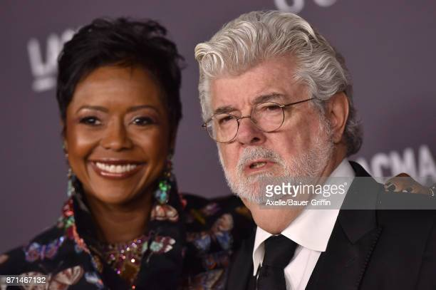 Honoree/director George Lucas and wife Mellody Hobson arrive at the 2017 LACMA Art Film Gala at LACMA on November 4 2017 in Los Angeles California
