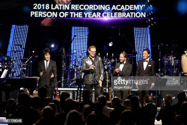 Honorees Alex Gonzalez Fher Olvera Sergio Vallin and Juan Calleros of Mana arrive onstage at the Latin Recording Academy's 2018 Person of the Year...