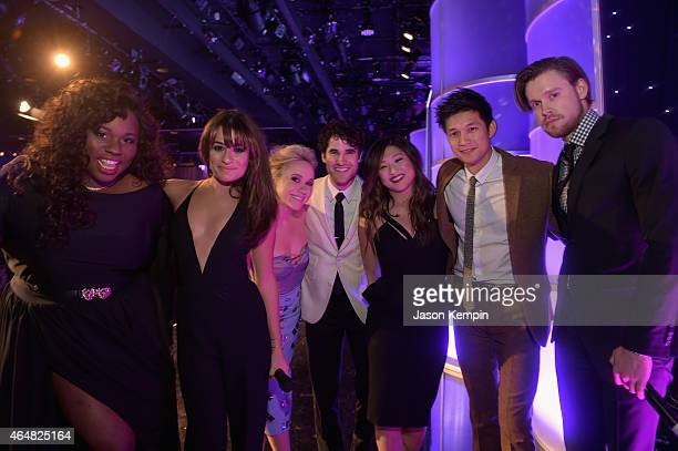 Honorees Alex Newell Lea Michele Becca Tobin Darren Criss Jenna Ushkowitz Harry Shum Jr and Chord Overstreet onstage during the Family Equality...