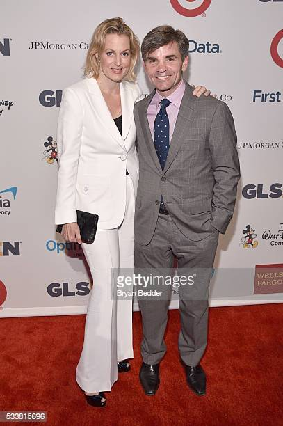 Honorees Ali Wentworth and George Stephanopoulos arrive at the GLSEN Respect Awards at Cipriani 42nd Street on May 23 2016 in New York City