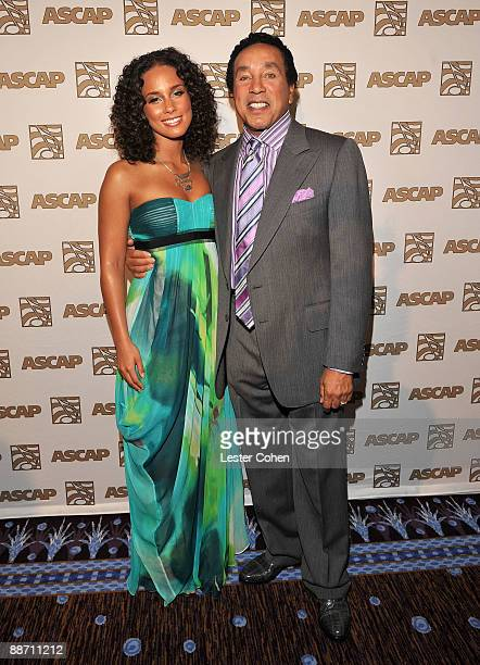 Honorees Alicia Keys and Smokey Robinson pose in the press room during the 22nd annual ASCAP Rhythm and Soul Awards held at The Beverly Hilton Hotel...