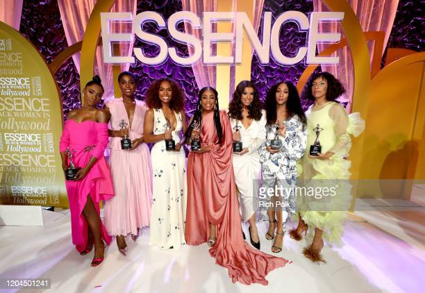 Honorees Angelica Ross Lashana Lynch Janet Mock Niecy Nash Hailie Sahar Mj Rodriguez and Melina Matsoukas pose onstage during the 2020 13th Annual...