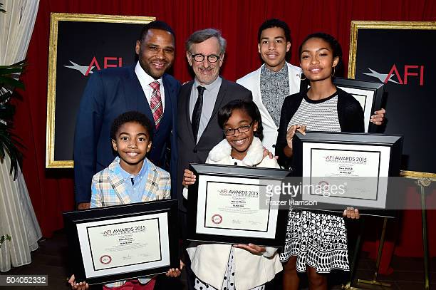 Honorees Anthony Anderson Steven Spielberg Marcus Scribner Yara Shahidi and Miles Brown and Marsai Martin pose with awards during the 16th Annual AFI...