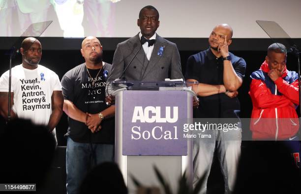 Honorees Antron McCray Raymond Santana Yusef Salaam Kevin Richardson and Korey Wise appear on stage at the American Civil Liberties Union of Southern...