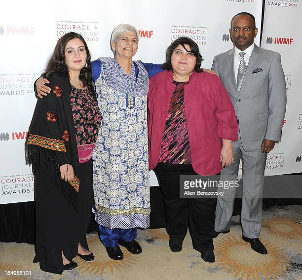 Honorees Asmaa alGhoul Zubeida Mustafa Khadija Ismayilova and journalist Elias Wondimu arrive at the 2012 Courage in Journalism Awards hosted by the...