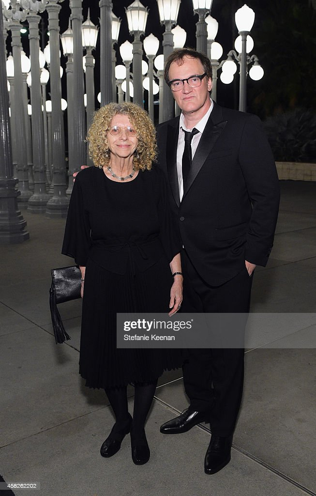Honorees Barbara Kruger (L) and Quentin Tarantino, wearing Gucci attend the 2014 LACMA Art + Film Gala honoring Barbara Kruger and Quentin Tarantino presented by Gucci at LACMA on November 1, 2014 in Los Angeles, California.