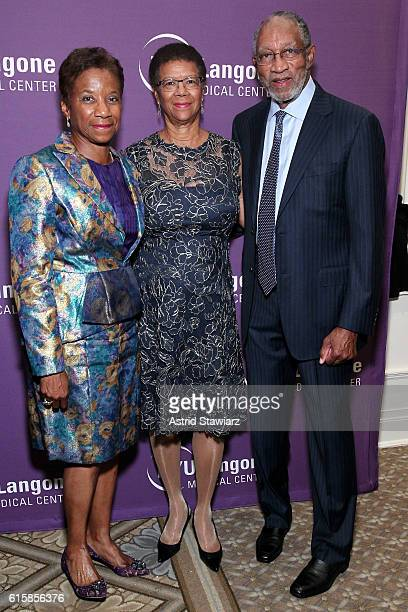 Honorees Beatrice Welters and Anthony Welters pose with President of the AnBryce Foundation Thelma Duggin during NYU Langone 2016 Perlmutter Cancer...