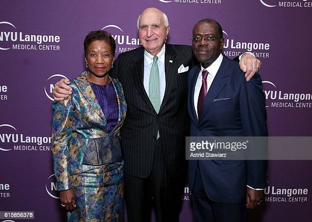 Honorees Beatrice Welters and Anthony Welters poses with Ken Langone during NYU Langone 2016 Perlmutter Cancer Center Gala at The Plaza on October 19...