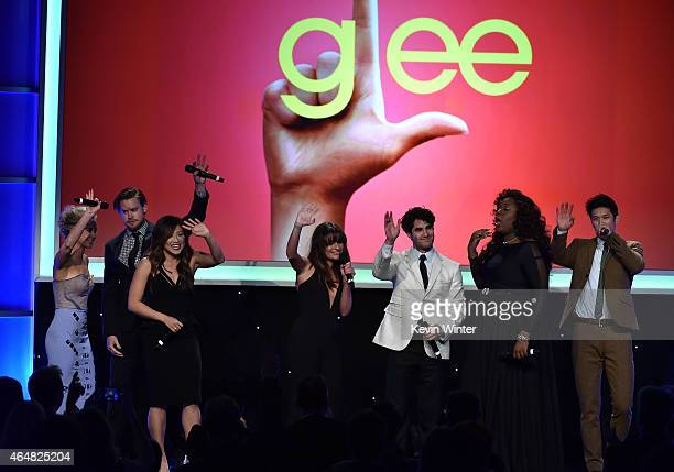 Honorees Becca Tobin, Chord Overstreet, Jenna Ushkowitz, Lea Michele, Darren Criss, Alex Newell and Harry Shum, Jr. Onstage during the Family...