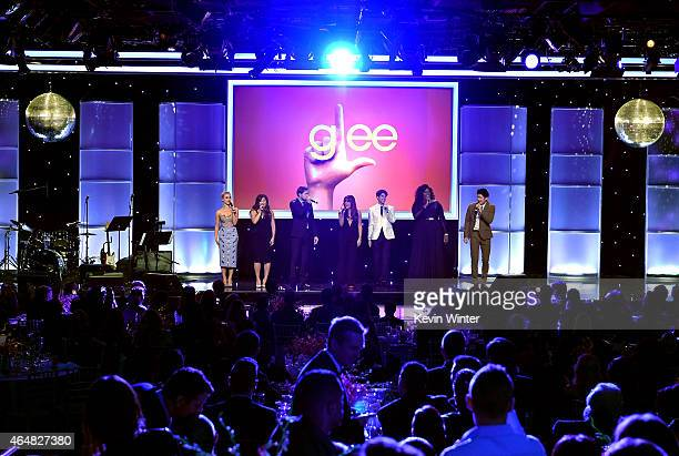 Honorees Becca Tobin, Jenna Ushkowitz, Chord Overstreet, Lea Michele, Darren Criss, Alex Newell and Harry Shum, Jr. Onstage during the Family...
