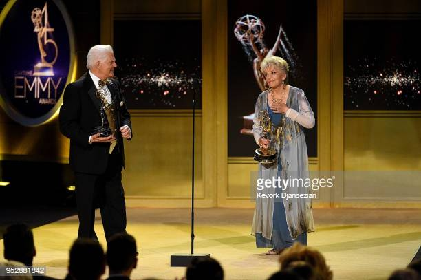 Honorees Bill Hayes and Susan Seaforth Hayes accept the Lifetime Achievement Award onstage during the 45th annual Daytime Emmy Awards at Pasadena...