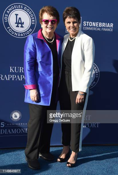 Honorees Billie Jean King and Ilana Kloss arrive at the 5th Annual Blue Diamond Foundation at Dodger Stadium on June 12 2019 in Los Angeles California