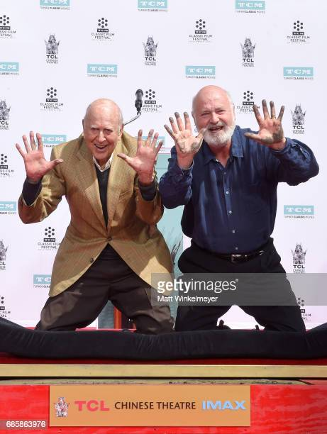 Honorees Carl Reiner and Rob Reiner attend the Carl and Rob Reiner Hand and Footprint Ceremony during the 2017 TCM Classic Film Festival on April 7...