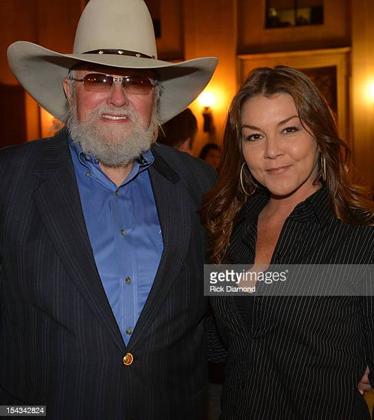 Honorees Charlie Daniels with Singer/Songwriter Gretchen Wilson chat before the 2012 Leadership Music Dale Franklin awards at War Memorial Auditorium...