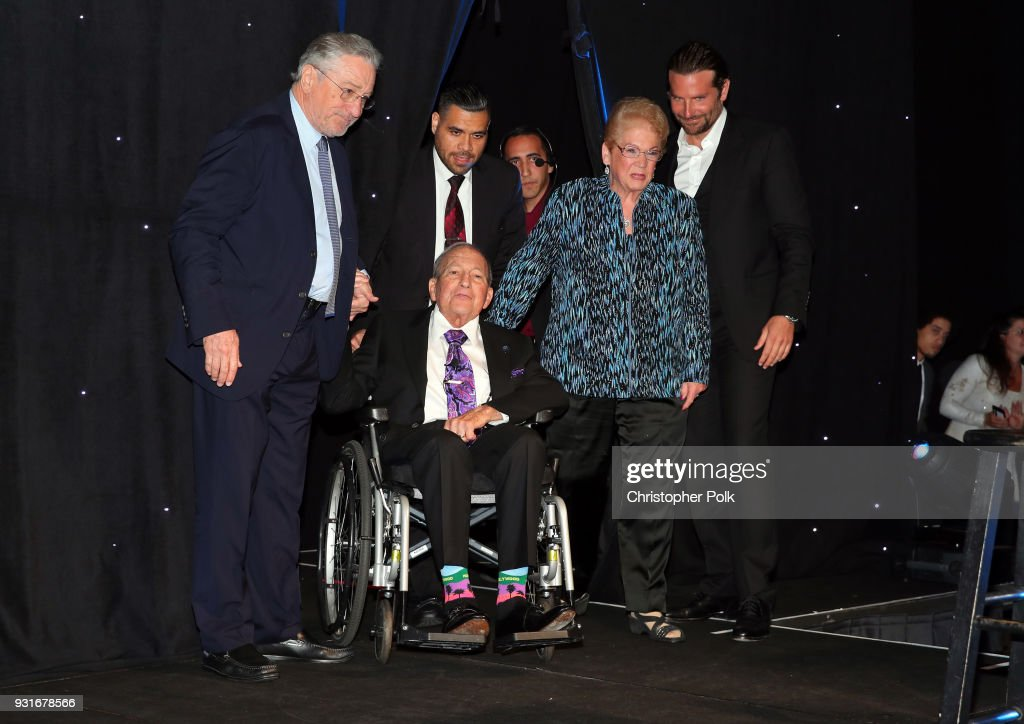 Honorees Cherna Gitnick and Dr. Gary Gitnick with Robert De Niro and Bradley Cooper onstage during A Legacy Of Changing Lives presented by the Fulfillment Fund at The Ray Dolby Ballroom at Hollywood & Highland Center on March 13, 2018 in Hollywood, California.