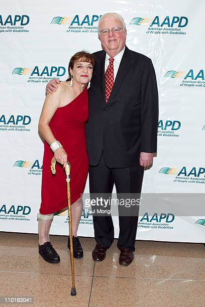 Honorees Cheryl Sensenbrenner and The Honorable James F Sensenbrenner pose for a photo at the 2011 AAPD Awards Gala at the Ronald Reagan Building on...
