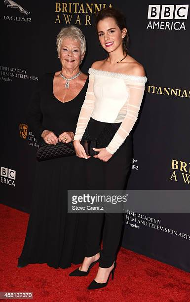 Honorees Dame Judi Dench and Emma Watson attend the BAFTA Los Angeles Jaguar Britannia Awards presented by BBC America and United Airlines at The...