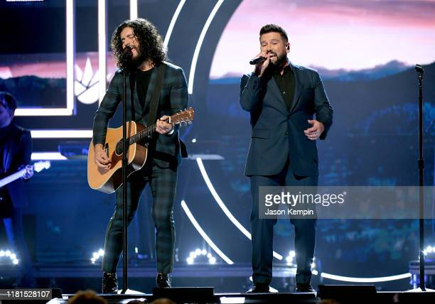 Honorees Dan Smyers and Shay Mooney of Dan Shay perform onstage during the 2019 CMT Artist of the Year at Schermerhorn Symphony Center on October 16...