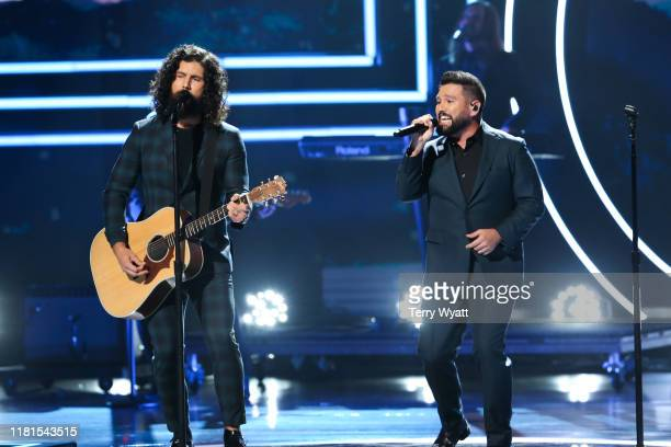 Honorees Dan Smyers and Shay Mooney of Dan Shay perform onstage during the 2019 CMT Artists of the Year at Schermerhorn Symphony Center on October 16...