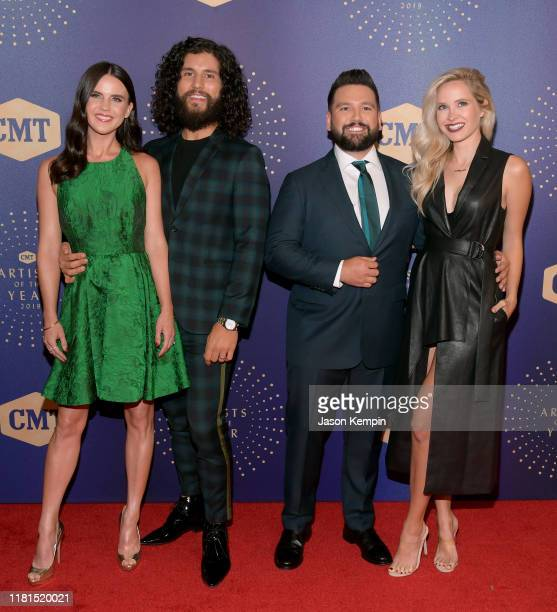Honorees Dan Smyers and Shay Mooney of Dan Shay pose with Abby Law and Hannah Billingsley at the 2019 CMT Artist of the Year at Schermerhorn Symphony...