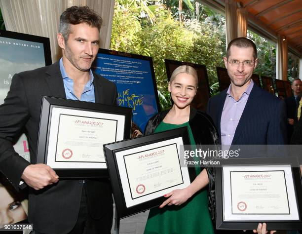 Honorees David Benioff Emilia Clarke and D B Weiss pose with awards during 18th Annual AFI Awards at Four Seasons Hotel Los Angeles at Beverly Hills...