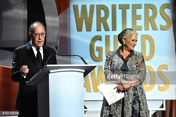 Honorees David Crane and Marta Kauffman accept the Paddy Chayefsky Laurel Award for Television Writing Achievement onstage during the 2016 Writers...