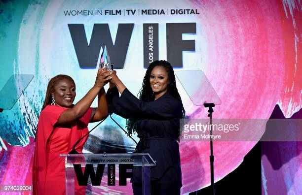 Honorees Denisia 'Blu June' Andrews and Brittany Chi Coney of NOVA Wav accept The Women In Film Artistic Excellence Award onstage during the Women In...