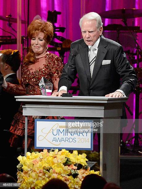 Honorees Dianne Bashor and James Bashor speak onstage during the UCLA Head and Neck Surgery Luminary Awards at the Beverly Wilshire Four Seasons...