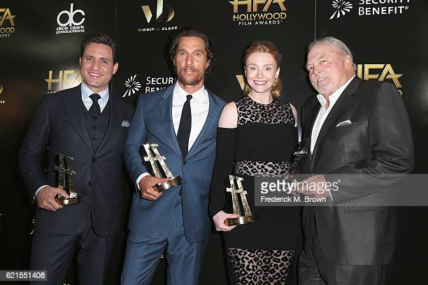 Honorees Edgar Ramirez Matthew McConaughey Bryce Dallas Howard and Stacy Keach Hollywood Ensemble Award recipients for 'Gold' pose in the press room...