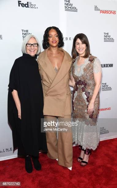 Honorees Eileen Fisher, Rihanna and Karen Katz attend the 69th Annual Parsons Benefit at Pier 60 on May 22, 2017 in New York City.