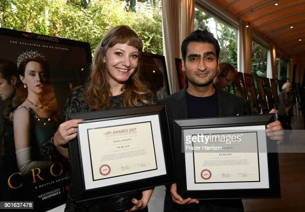Honorees Emily V Gordon and Kumail Nanjiani pose with awards during 18th Annual AFI Awards at Four Seasons Hotel Los Angeles at Beverly Hills on...