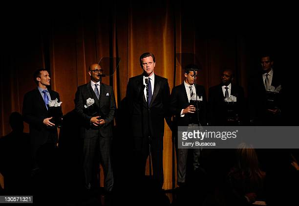 Honorees Eric Greitens, Tim King, TV personality Willie Geist, honorees Laren Poole, Deo Niyizonkiza and Jake Wood onstage at the GQ's Gentlemen's...