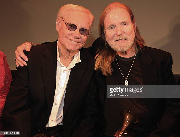 Honorees George Jones and Gregg Allman chat during The 54th Annual GRAMMY Awards Special Merit Awards Ceremony And Nominee Reception at The Wilshire...