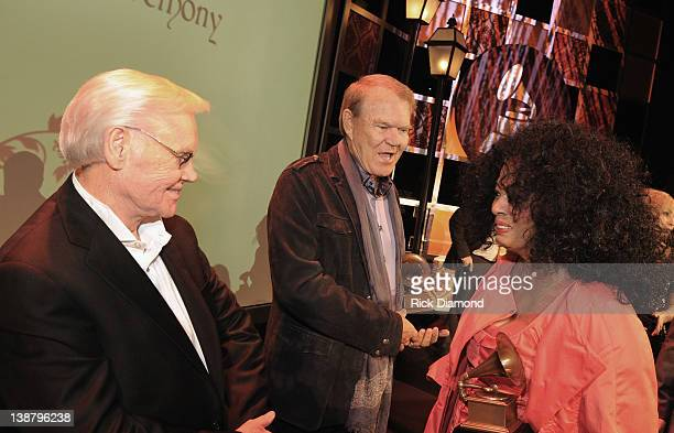Honorees George Jones Glen Campbell and Diana Ross attend The 54th Annual GRAMMY Awards Special Merit Awards Ceremony And Nominee Reception at The...