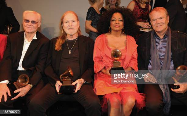 Honorees George Jones Gregg Allman Diana Ross and Glen Campbell attend The 54th Annual GRAMMY Awards Special Merit Awards Ceremony And Nominee...