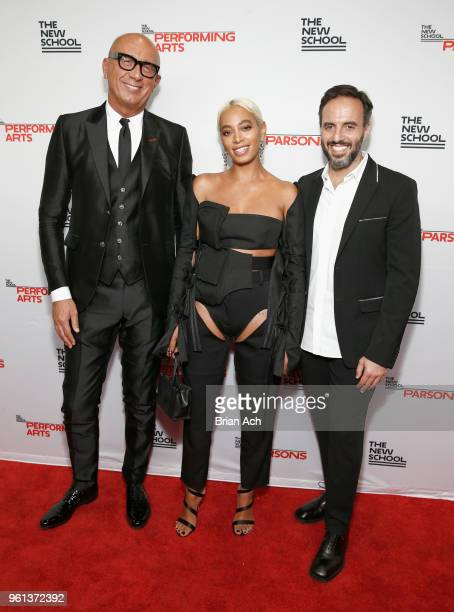 Honorees Gucci CEO Marco Bizzarri Solange Knowles and Founder and CEO of Farfetch Jose Neves attend the 70th Annual Parsons Benefit on May 21 2018 in...
