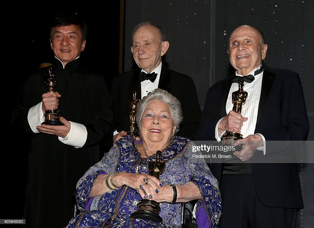 Honorees Jackie Chan, Frederick Wiseman, Anne V. Coates and Lynn Stalmaster pose with their awards during the Academy of Motion Picture Arts and Sciences' 8th annual Governors Awards at The Ray Dolby Ballroom at Hollywood & Highland Center on November 12, 2016 in Hollywood, California.