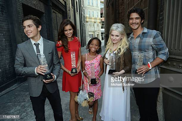 Honorees Jake T Austin Nina Dobrev Quvenzhane Wallis Abigail Breslin and Tyler Posey pose with awards during Variety's Power of Youth presented by...