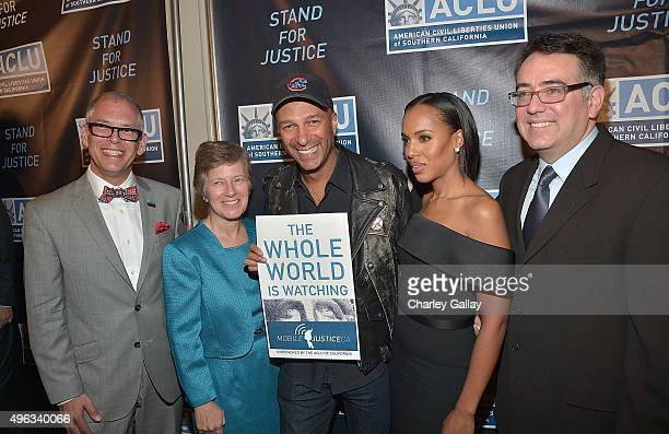 Honorees James Obergefell Mary L Bonauto Tom Morello and Kerry Washington and Executive Director of the ACLU of Southern California Hector Villagra...