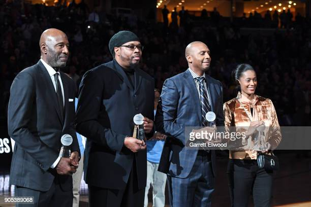 Honorees James Worthy Sam Perkins Penny Hardaway and Swin Cash receive the13th annual national civil rights museum sports legacy award during...