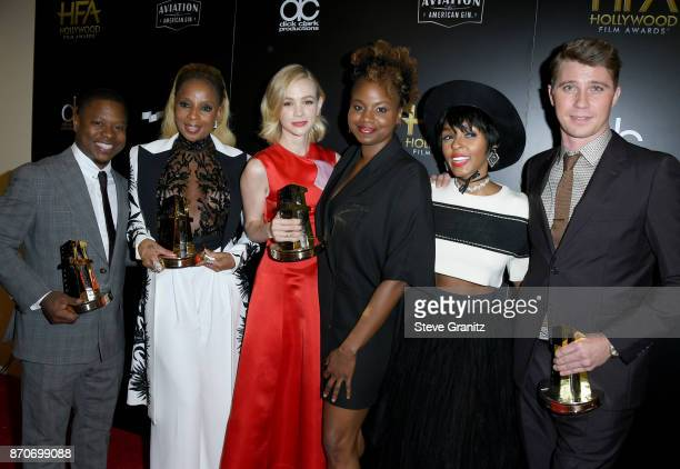 Honorees Jason Mitchell Mary J Blige Carey Mulligan Dee Rees Janelle Monae and Garrett Hedlund recipients of the Hollywood Breakout Ensemble Award...