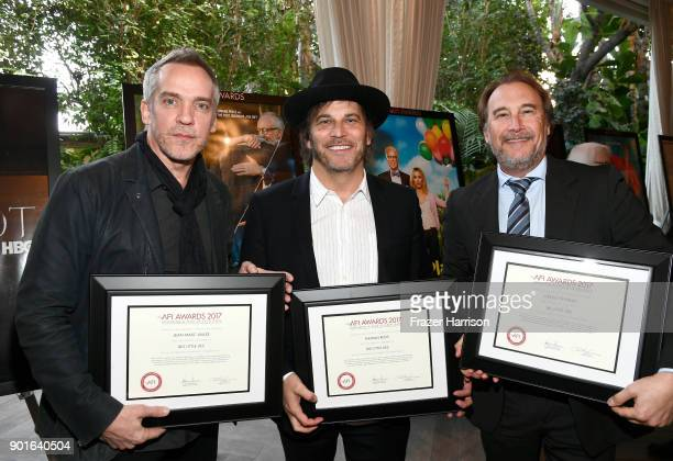 Honorees JeanMarc Vallee Nathan Ross and Greg Fienberg pose with awards during 18th Annual AFI Awards at Four Seasons Hotel Los Angeles at Beverly...