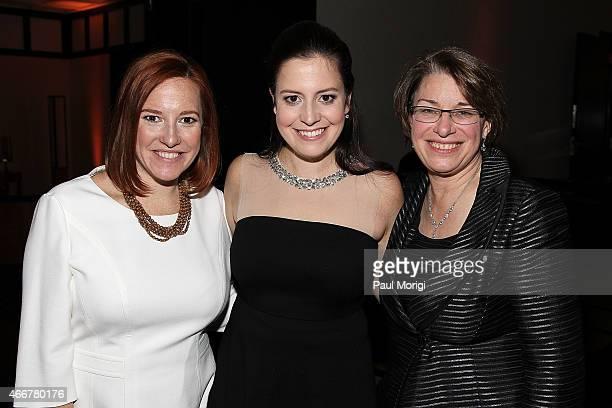 Honorees Jen Psaki Rep Elise Stefanik and Sen Amy Klobuchar attend the ELLE and HUGO BOSS Women in Washington Power List Dinner at The Residence of...