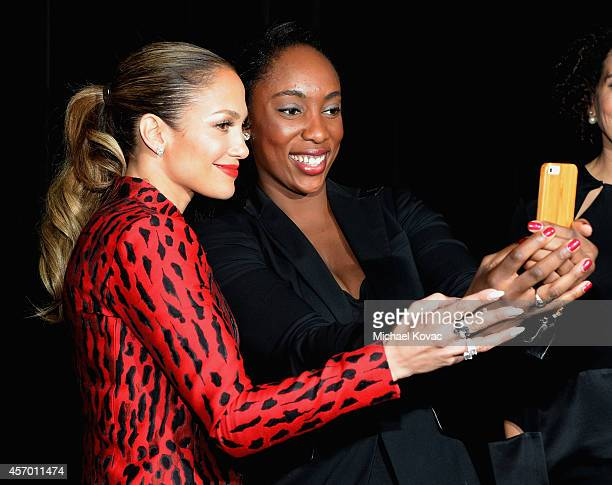 Honorees Jennifer Lopez and Jessica Matthews attend the 2014 Variety Power of Women presented by Lifetime at Beverly Wilshire Four Seasons Hotel on...