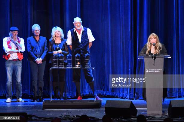Honorees John McVie, Lindsey Buckingham, Christine McVie, Mick Fleetwood, and Stevie Nicks of Fleetwood Mac accept the MusiCares Person of the Year...
