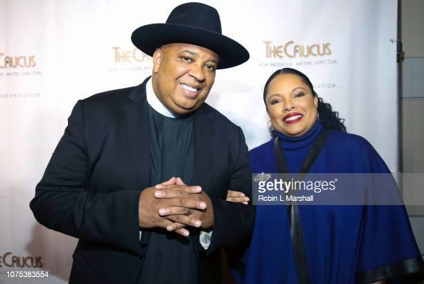 Honorees Joseph 'Rev Run' of RUN DMC and wife Justine Simmons attend the 36th Annual Caucus Awards Dinner at Skirball Cultural Center on November 30...